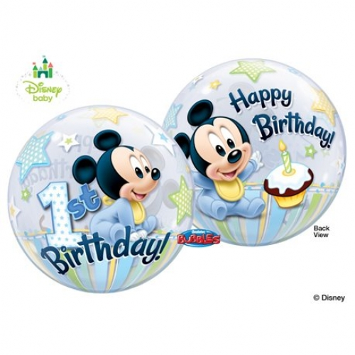Balão Bubble Mickey 1st birthday
