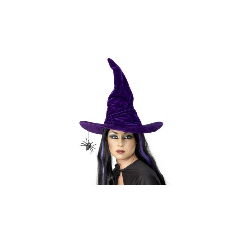 4b16b2c29aa Purple Velvet Witch Hat w  Hanging Spider
